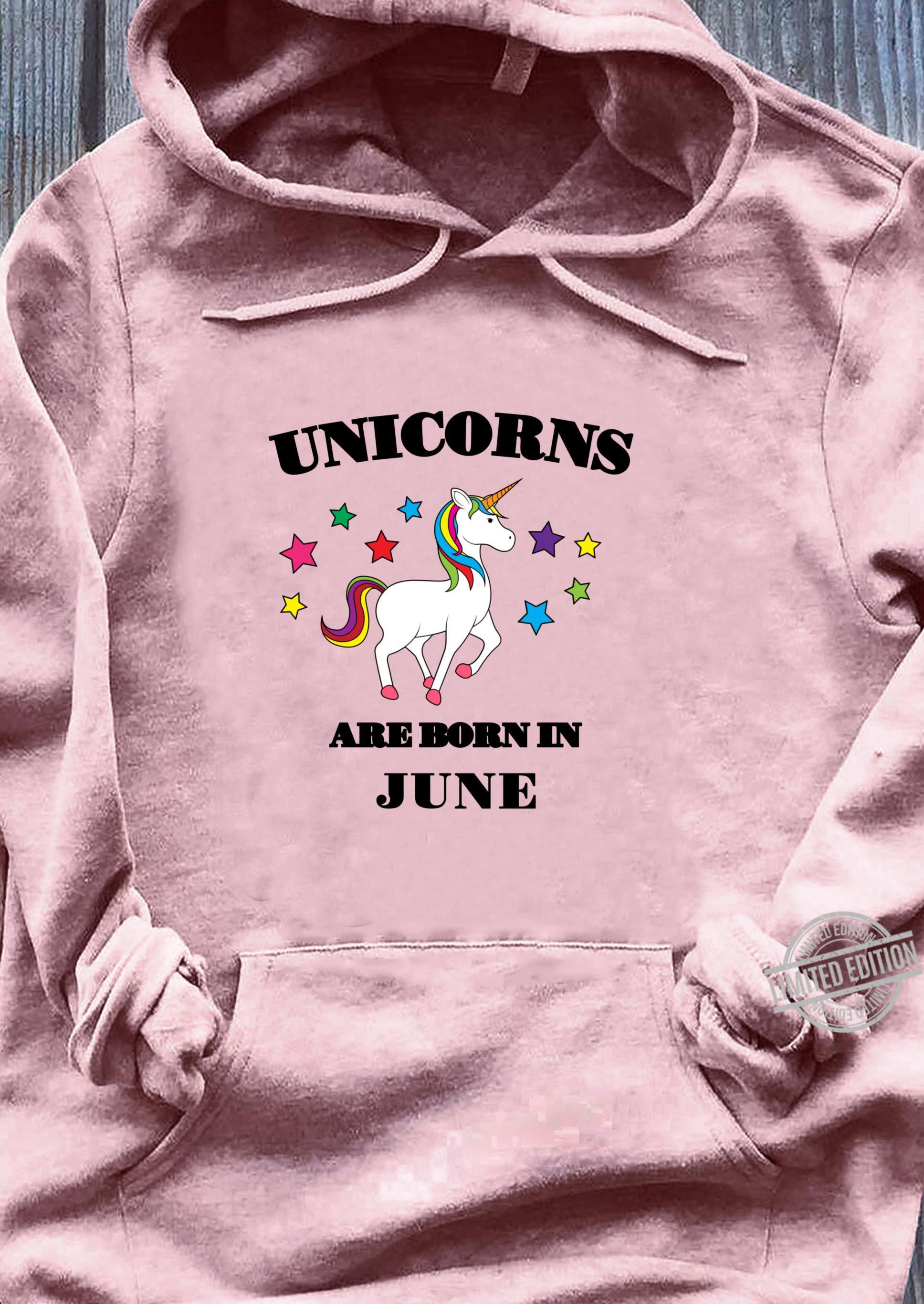 Unicorns are Born In June Shirt Birthday Unicorn Langarmshirt Shirt ladies tee